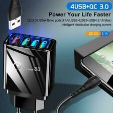 4 Port Fast Quick Charge QC 3.0 USB Hub Wall Charger Power Adapter US/EU/UK Plug