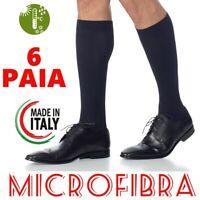 CALZE LUNGHE DA UOMO 6 PAIA IN MICROFIBRA MADE IN ITALY TRASPIRANTI