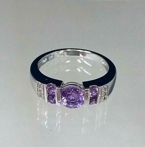 Magnificent Purple Amethyst & Diamond Ring 9carat White Gold Hallmarked Sz M-N-O
