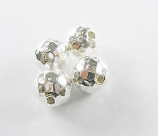 Hill Tribe Silver 4 Faceted Round Beads 10 mm.
