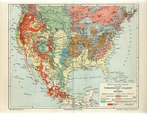 1895 USA and MEXICO GEOLOGICAL MAP GEOLOGY Antique Map