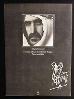 """FRANK ZAPPA SHEIK YERBOUTI 11"""" x 15"""" FULL PAGE MAGAZINE ADVERT UK 1979 POSTER"""