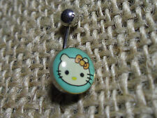 "316L SURGICAL STEEL HELLO KITTY NAVEL / BELLY BARS  7/16""(12mm)  BLUE no stone"