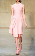 New Simone Rocha Pink Wool Felt Asymmetric Ruffle Dress uk 10