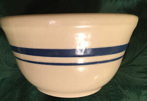 """Roseville Friendship Pottery Mixing Bowl Blue Stripe Band 6"""" X 3-1/2"""""""
