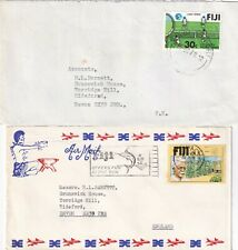 MM879 Fiji 12 different covers / postcard mainly air UK; 1974 - 1989
