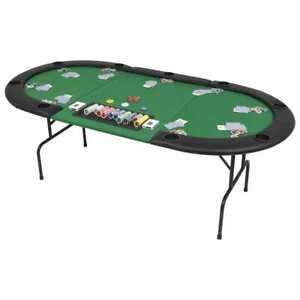 vidaXL 9-Player Folding Poker Table 3 Fold Oval Green Playing Card Game Desk