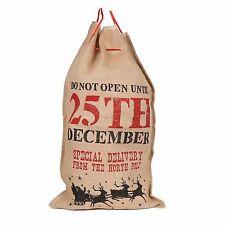 LARGE HESSIAN CHRISTMAS SANTA SACK 80cm x 50cm. Tie top gift bag stocking filler