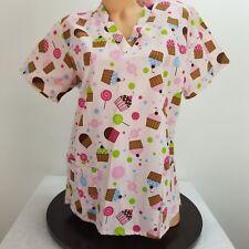 Carols Scrubs Small 6 Scrub Top Pink V Neck Pockets Cupcakes Candy