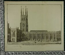 c1750 LARGE ANTIQUE LONDON PRINT ~ CHURCH OF ST SEPULCHRE SOUTH PROSPECT