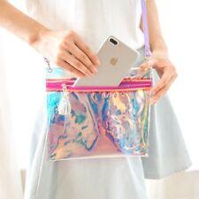 Women Clutch Makeup Laser Metallic Bag Holographic Handbag Clear Hologram Purse