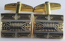 Tone Damascene Hinged Signed Spain Vintage Cufflinks Cuff Links Gold