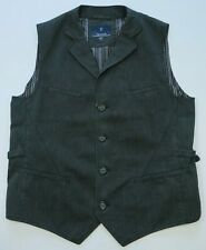 Faconnable Men's Cotton Black Gray PinStriped Waistcoat Dress Vest Medium France