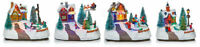 Multicoloured LED Lights Rotating Animated Village Christmas Carousel 14cm Wide