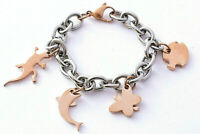 """STAINLESS STEEL ROSE GOLD TONE CRITTERS CHARM BRACELET, 7"""" LONG"""