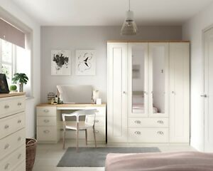 Ready Assembled Venice Ivory Wardrobe Drawers Complete Bedroom Furniture Set