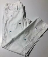LILLY PULITZER Worth Skinny Embroidered Fish White Ankle Jeans Pants Size 2