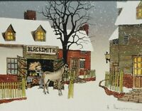 Signed H Hargrove - Horse Blacksmith Town Winter Scene - Serigraph Art Painting