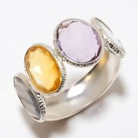 Multi Gemstone Gemstone Handmade Ethinc 925 Sterling Silver Ring Size 7 R-78