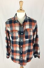 AMERICAN EAGLE Orange & Blue Flannel Button Up Shirt Athletic Fit Size XL