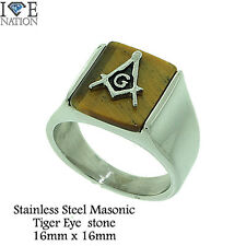 STAINLESS STEEL MEN'S MASONIC HEAVY DUTY THICK BAND BRAND NEW STR# 697 Tiger eye