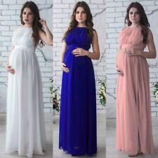 Women Ladies Maternity Evening Chiffon Maxi Dress Long Sleeve Boat Neck Sizes