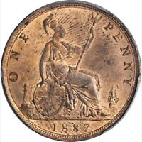 GREAT BRITAIN VICTORIA 1887  1 PENNY COIN, UNCIRCULATED, CERTIFIED PCGS MS 63-RB
