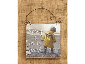 SPRING IS ON IT'S WAY small wood wall sign hanger