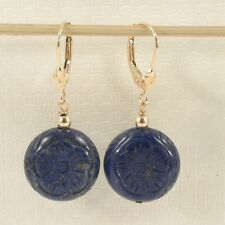 Natural Gemstone Blue Lapis 14k Yellow Solid Gold Leverback Earrings TPJ