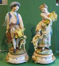 Antique Jean Gille French Pottery Pair Tall Figurines Vion & Baury 19th Century