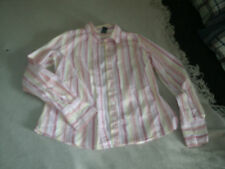 Izod ladies pink & yellow long sleeve blouse size small