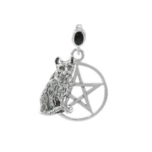 Cat Familiar Protection Pentacle .925 Sterling Silver Pendant by Peter Stone