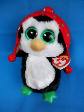 283c3c50774 WINTER PENGUIN soft plush toy FREEZE big green sparkly eyes TY BEANIE BOOS  NEW