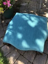Antique Small Upholstered Footstool - Velvet Turquoise