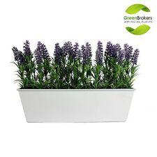 Artificial Lavender Window Box, White Tin Trough Container Planter - 45cm