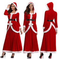 Lady Christmas Xmas Deluxe Classic Mrs. Santa Claus Cosplay Costume Party Dress