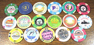 Lot of 17 Old / Obsolete & Vintage Casino Chips - 17 Chip Collection