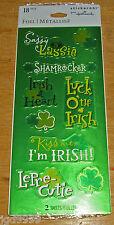 Hallmark St Patrick's Day Foil Stickers Irish Shamrocks NIP Free Ship Over $15