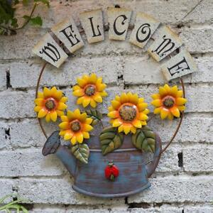 Garden Welcome Signs Metal Hanging Decorative Sunflower Welcome