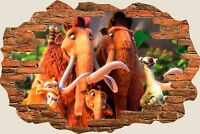 3D Hole in Wall Fantasy Dinosaur View Wall Stickers Film Decal Wallpaper 595