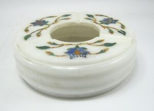 3.75 Inches White Marble Cigarette Holder Pietra Dura Art Table Master Piece