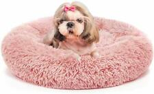 New Comfortable Pink Color Round Shape Dog Bed Fur Material High Stretch