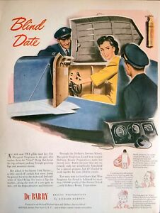 """1944 War Time Art Print Ad  """"Blind Date"""" Du Barry Keep Your Beauty On Duty"""