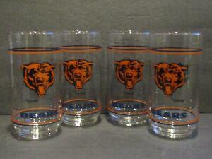 Mobil CHICAGO BEARS Set of 4 Glass Tumblers - Orange Bears Logo - Black NFL