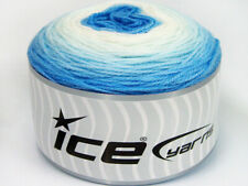 Lot of 3 x 100gr Skeins Ice Yarns CAKES BABY FINE Yarn Blue Shades White