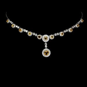 Unheated Round Citrine 7mm Cz 14K White Gold Plate 925 Sterling Silver Necklace