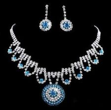 Light Blue & Clear Crystal Round Pendant & Earring Set Silver Plated