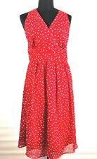 George Women's Dress Sz.14 Red White Polka Dot Pin Up Style Empire Waist Lined