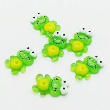 New 10pcs 16x24mm green Frog Flatback Scrapbooking Resin Cabochons Craft  @1