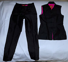 SHANGHAI TANG -100% Silk Vest/Pants Suit-Size 10-Black Fuschia Lining-Very nice.